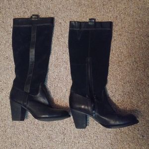 Naturalizer Brand Leather Heeled Mid-Calf Boots